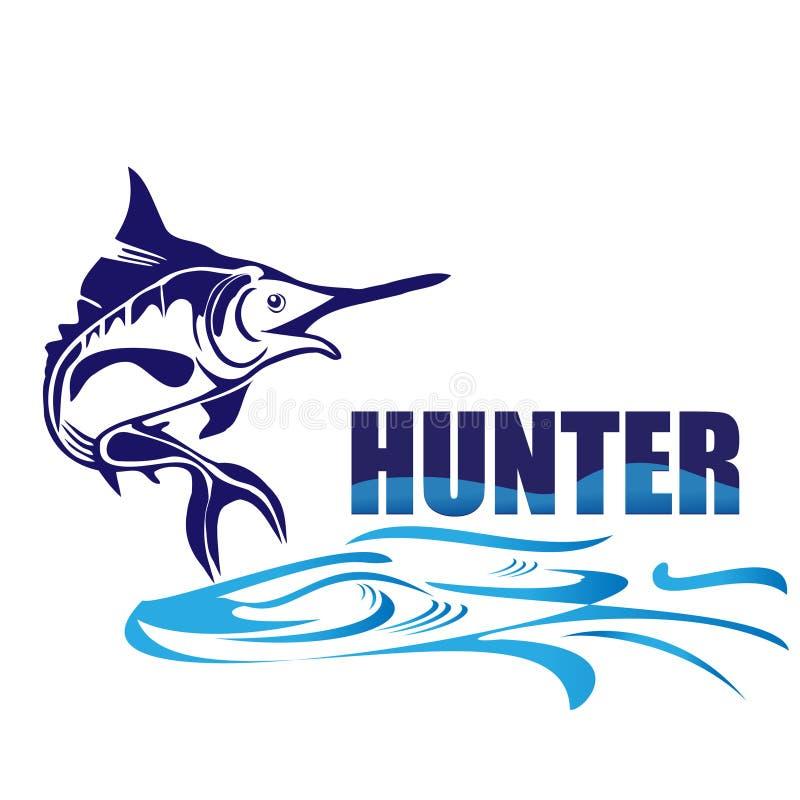 Insignia de los pescados del cazador ilustración del vector