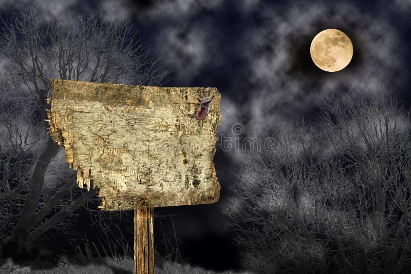 Insignia de madera de Halloween foto de archivo