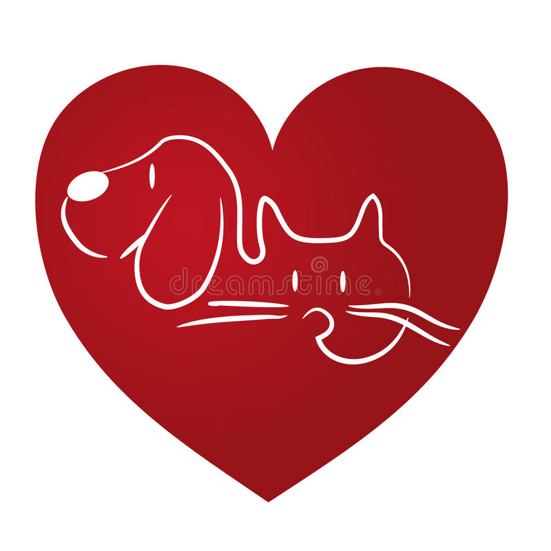 Insignia del amor del gato y del perro ilustración del vector