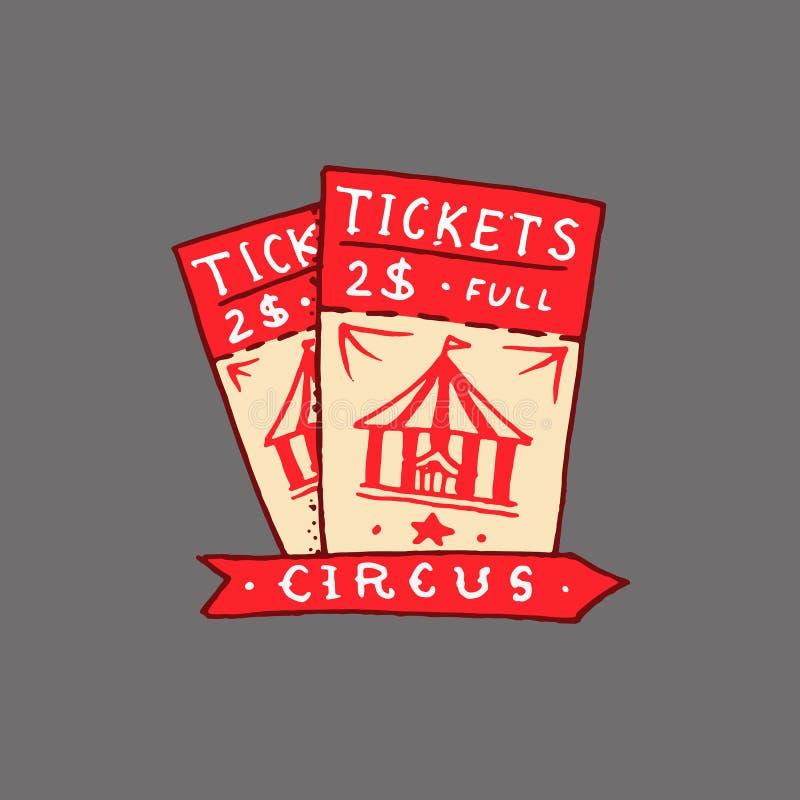 Insignia del boleto del circo Tarjeta retra Logotipo del carnaval del vintage o emblema lindo Etiqueta para la bandera y la demos stock de ilustración