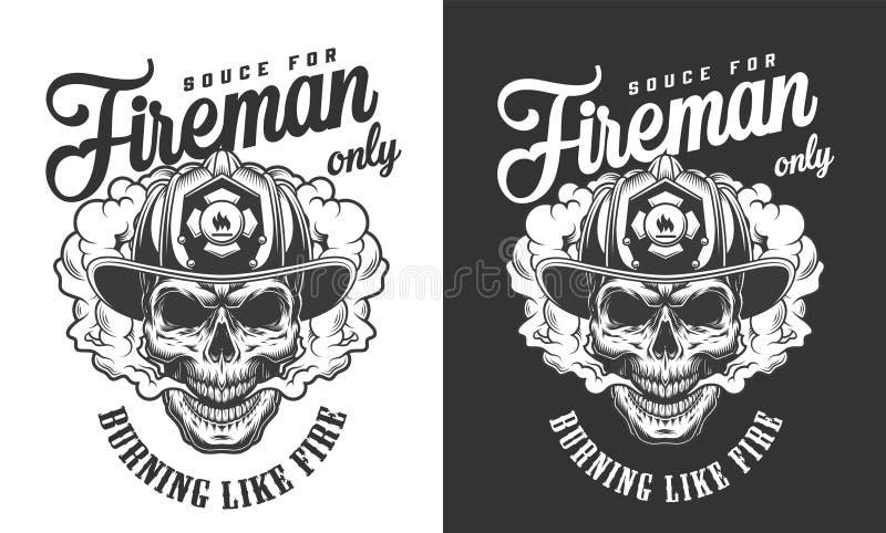 Insignia del casco del bombero del cráneo del vintage que lleva libre illustration