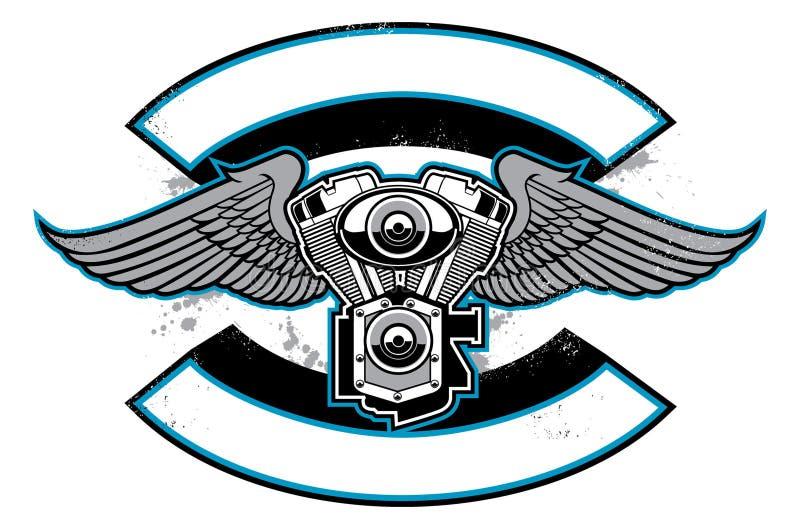Insignia del club de la moto con el motor y las alas stock de ilustración