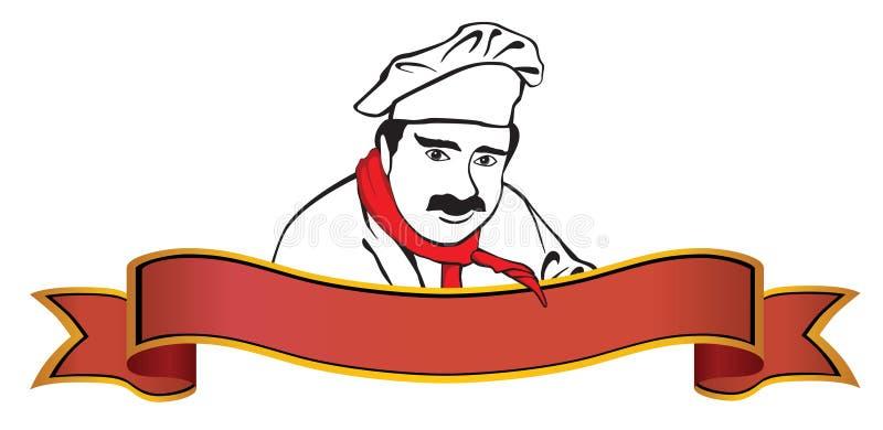 Insignia del cocinero con la bandera imagen de archivo