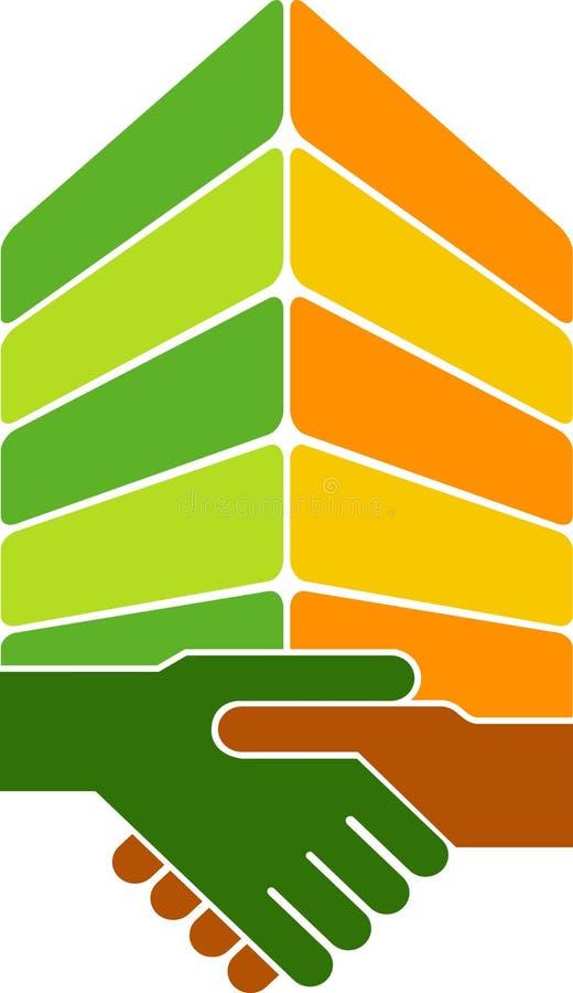 Insignia del edificio del apretón de manos stock de ilustración