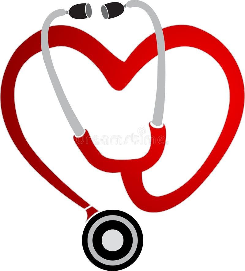 Insignia del estetoscopio del corazón ilustración del vector
