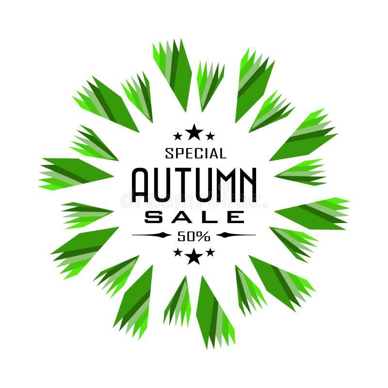 Insignia del fondo de Autumn Sale stock de ilustración