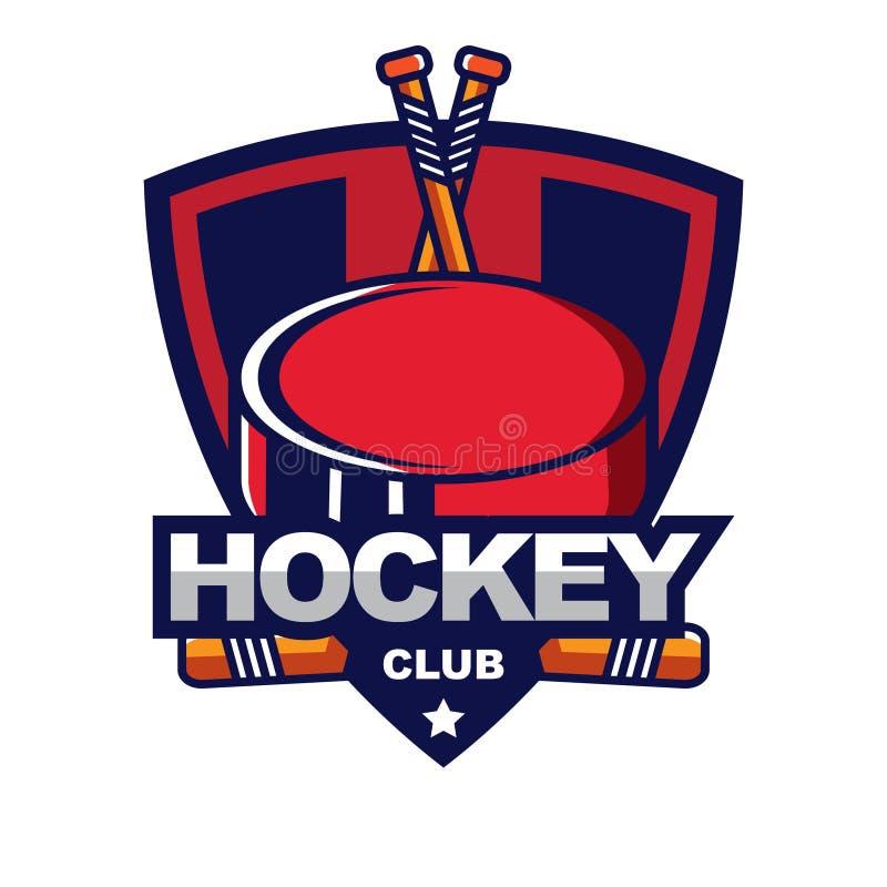 Insignia del hockey sobre hielo, logotipo, plantilla del emblema ilustración del vector