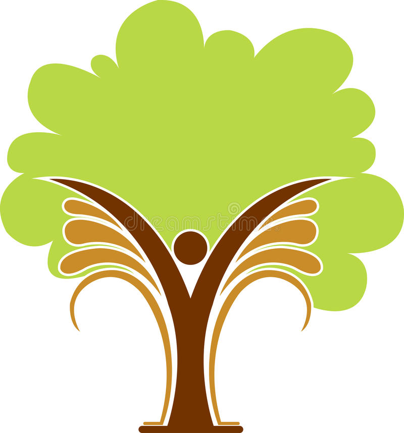 Insignia del hombre del árbol stock de ilustración