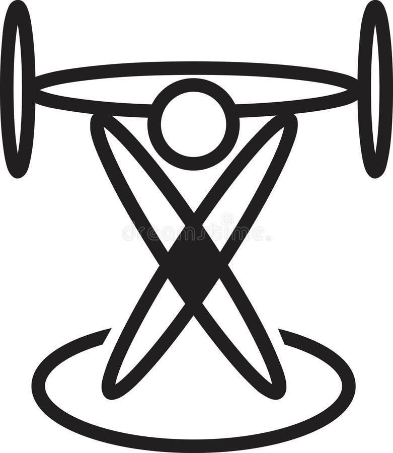 Insignia del levantamiento de pesas ilustración del vector
