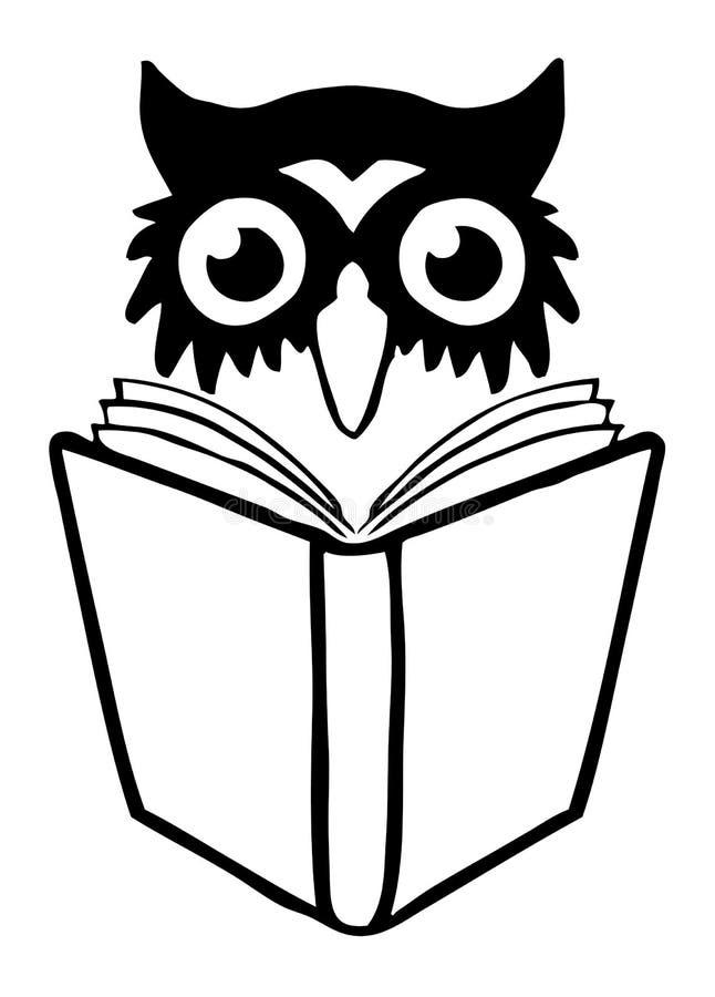 Insignia del libro del buho stock de ilustración