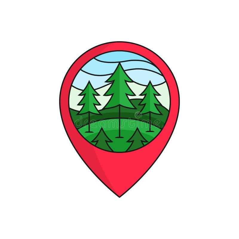 Insignia del logotipo del localizador del perno del mapa del bosque del pino ejemplo del árbol de pino con el marco del círculo p ilustración del vector