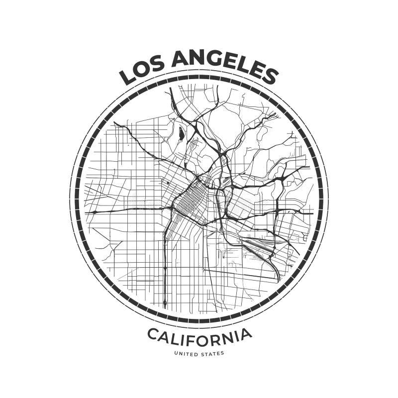 Insignia del mapa de la camiseta de Los Angeles, California ilustración del vector