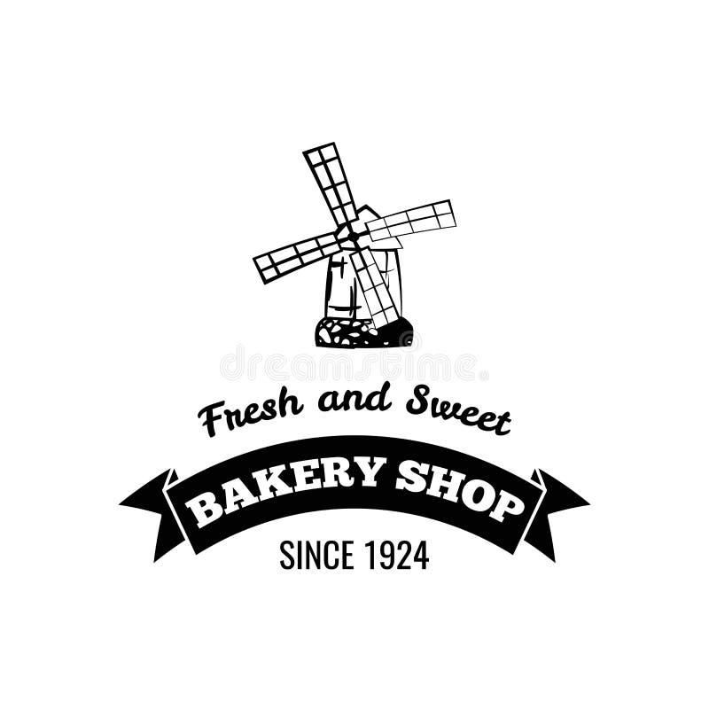 Insignia del molino Logotipo de la tienda de la panadería, etiqueta Muestra fresca de los pasteles Frash e inscripción dulce Vect stock de ilustración