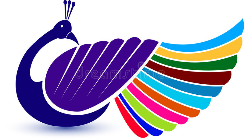 Insignia del pavo real stock de ilustración