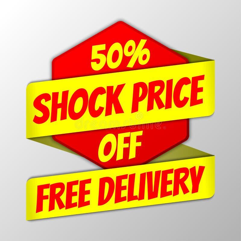 Insignia del precio del choque con la cinta stock de ilustración