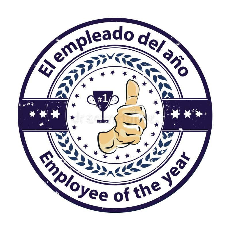 Insignia del premio con el texto bilingüe: Empleado del año escrito en español e inglés stock de ilustración