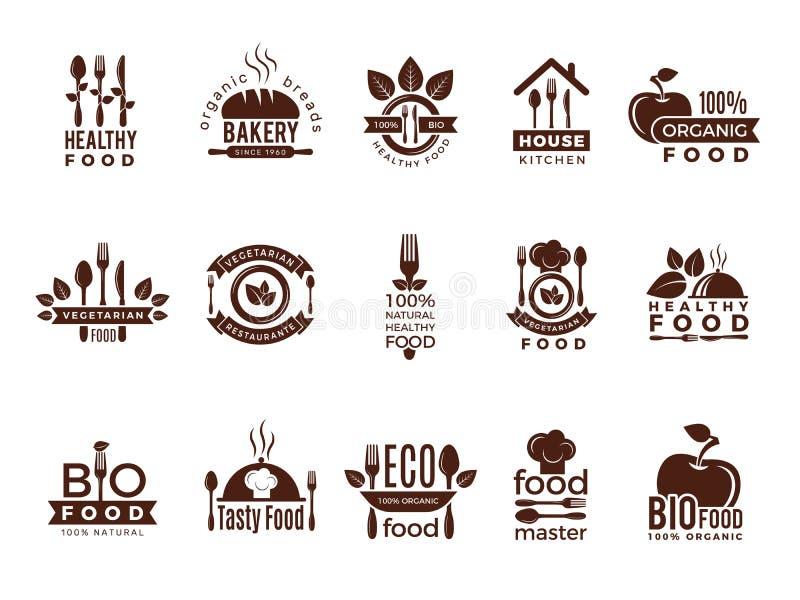 Insignia del restaurante Las etiquetas del vintage de la fabricación de la comida para la casa de cocinar sana fresca del eco de  ilustración del vector