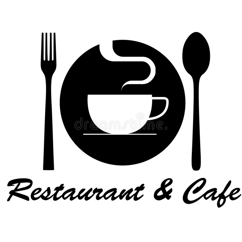 Insignia del restaurante y del café stock de ilustración