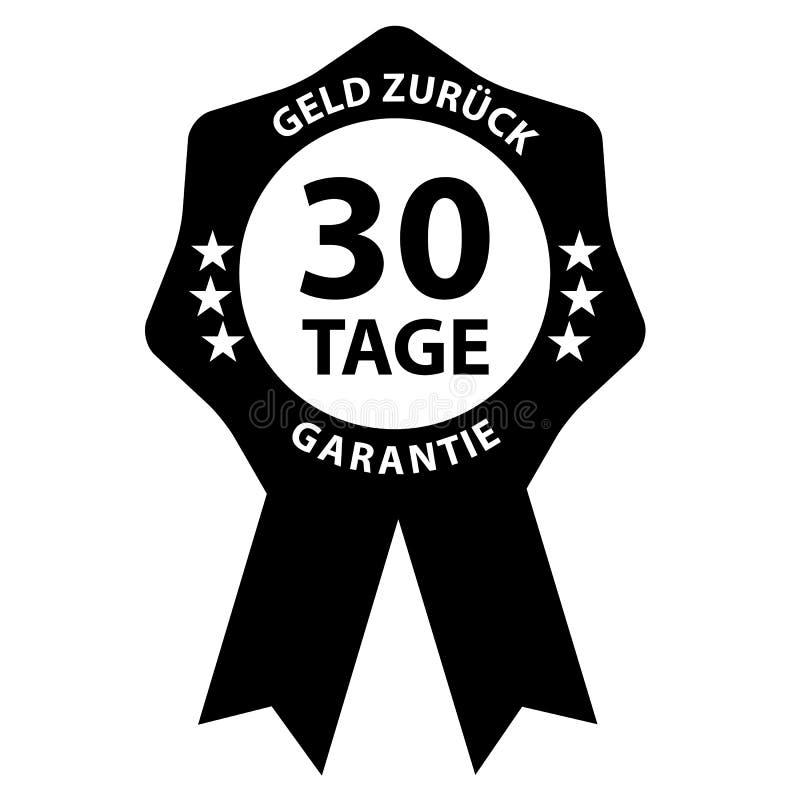Insignia del sello garantía de la devolución de efectivo de 30 días con palabras alemanas stock de ilustración