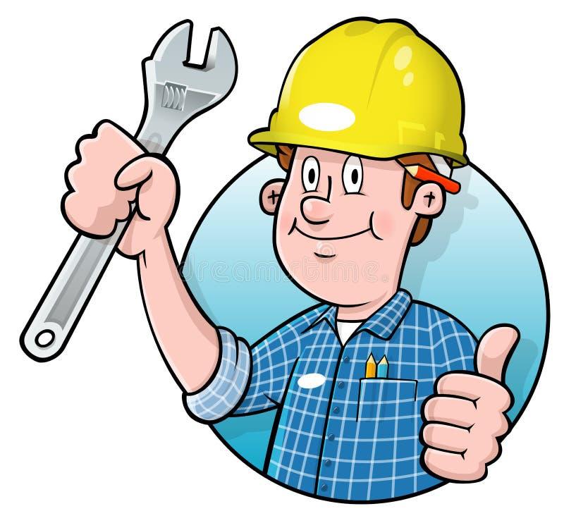 Insignia del trabajador de construcción de la historieta ilustración del vector