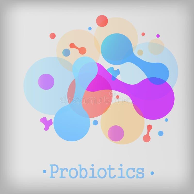 Insignia del vector de las bacterias de Probiotics ilustración del vector