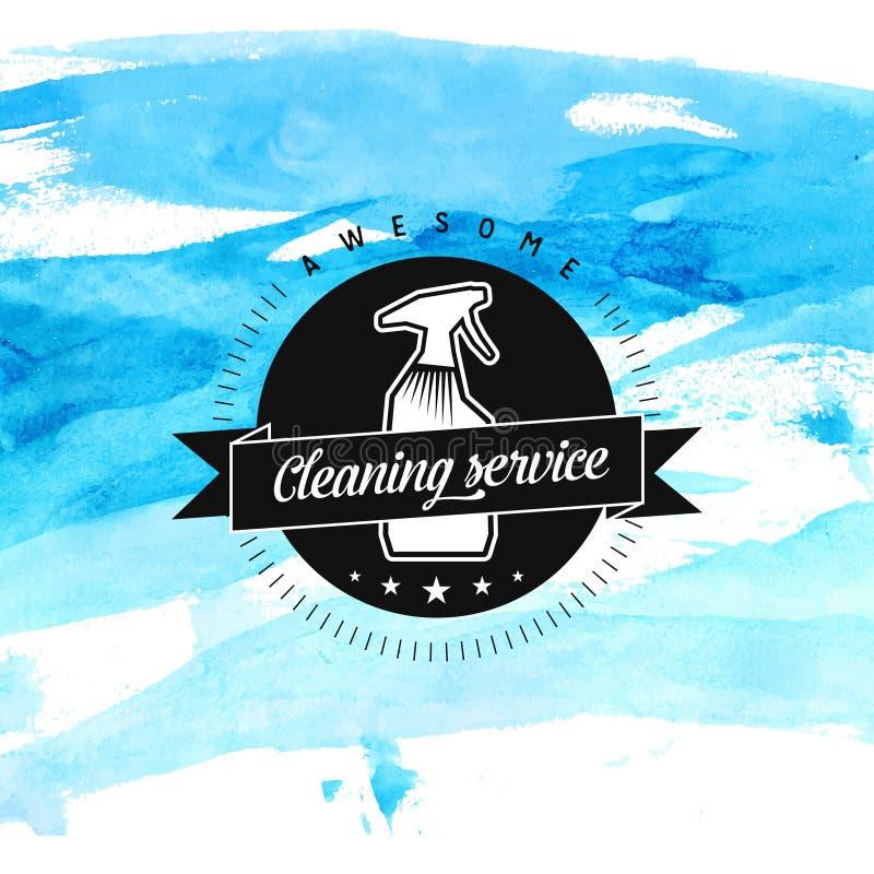 Insignia del vector del servicio de la limpieza con el espray y libre illustration