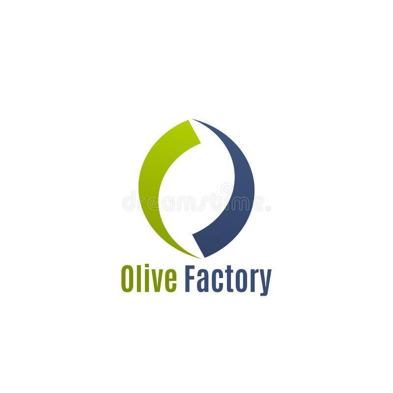 Insignia del vector para la fábrica verde oliva stock de ilustración