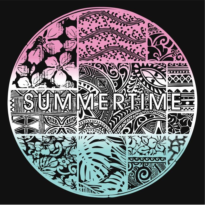 Insignia del verano con adornos hawaianos libre illustration