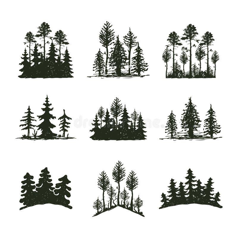 Insignia del viaje del árbol de la silueta al aire libre del negro, cedro de la rama de la picea del pino de los tops y extracto  ilustración del vector