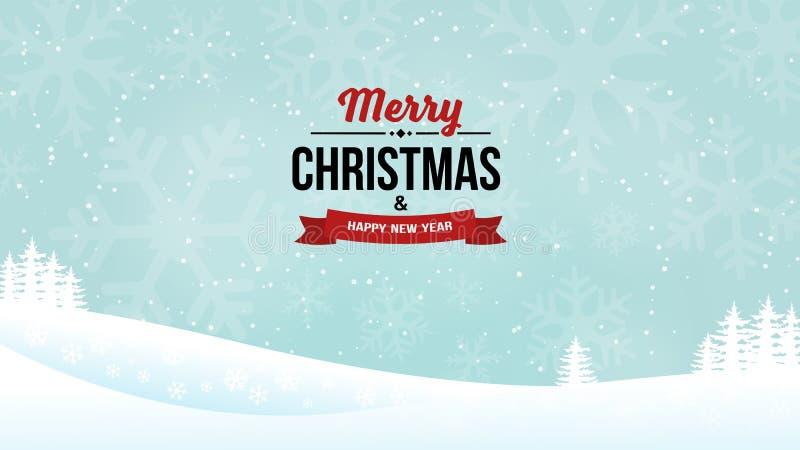 Insignia 2018 del vintage de la Feliz Navidad y del Año Nuevo en el fondo brillante del paisaje Fondo del invierno del día de fie stock de ilustración