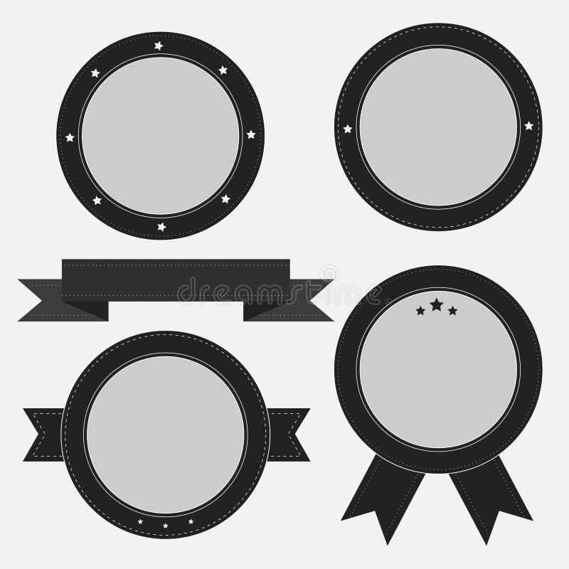 Insignia del vintage y sistema de etiqueta retros con la cinta y las estrellas. T vacío ilustración del vector