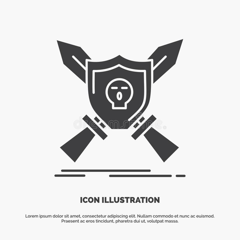 Insignia, emblema, juego, escudo, icono de las espadas s?mbolo gris del vector del glyph para UI y UX, p?gina web o aplicaci?n m? stock de ilustración