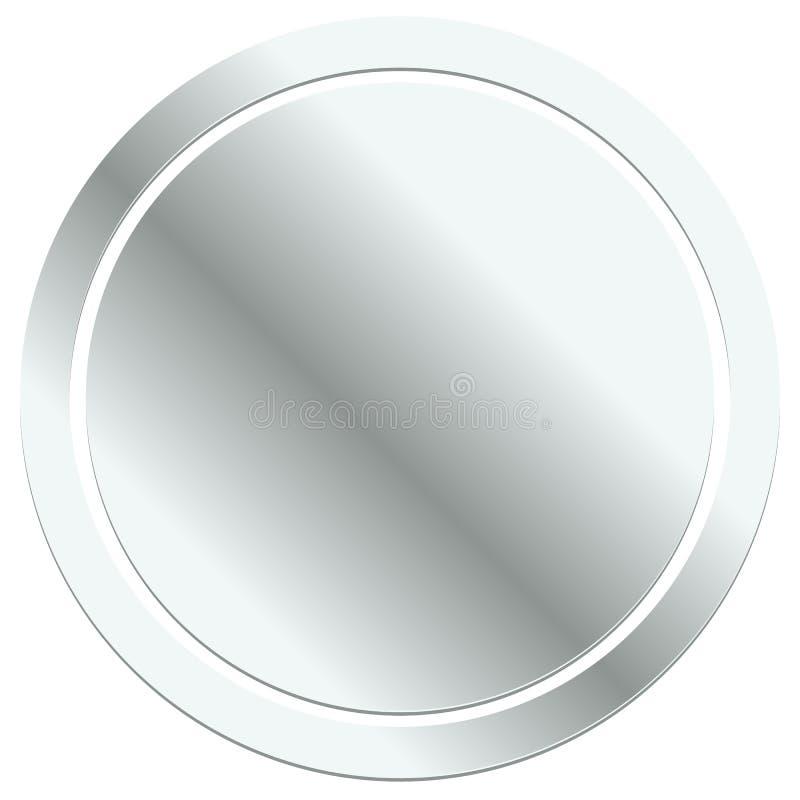 Insignia en blanco del metal, icono del emblema Botón metálico del círculo stock de ilustración