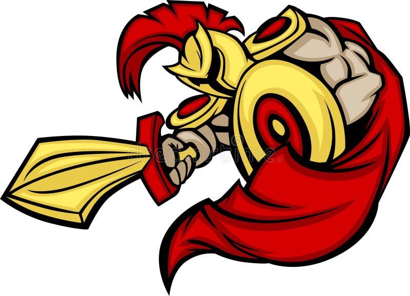 Insignia espartano/Trojan de la mascota ilustración del vector