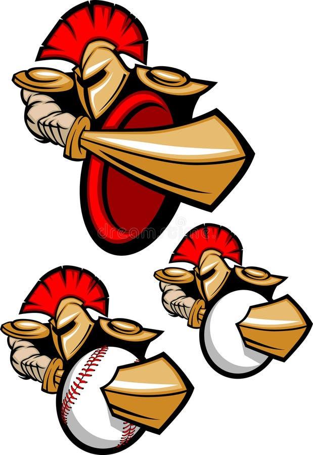Insignia espartano/Trojan de la mascota stock de ilustración