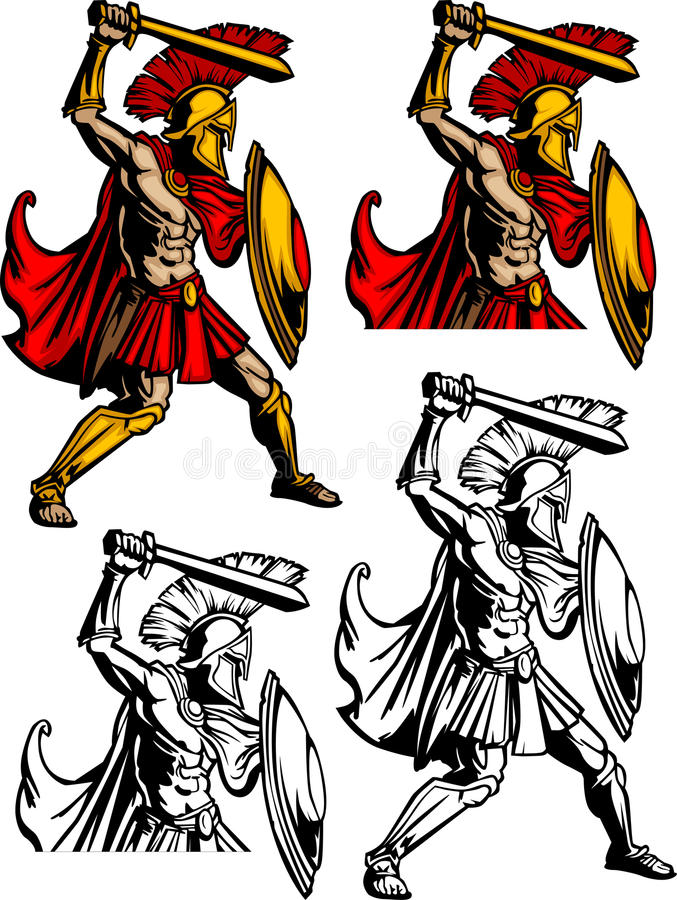 Insignia espartano/Trojan de la mascota libre illustration