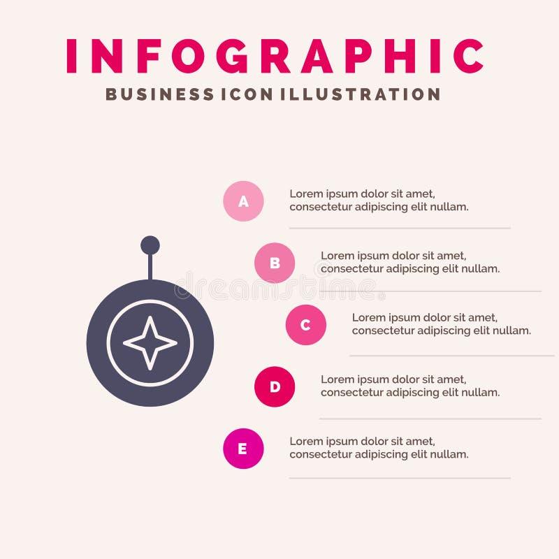 Insignia, estrella, medalla, escudo, fondo sólido de la presentación de los pasos de Infographics 5 del icono del honor stock de ilustración