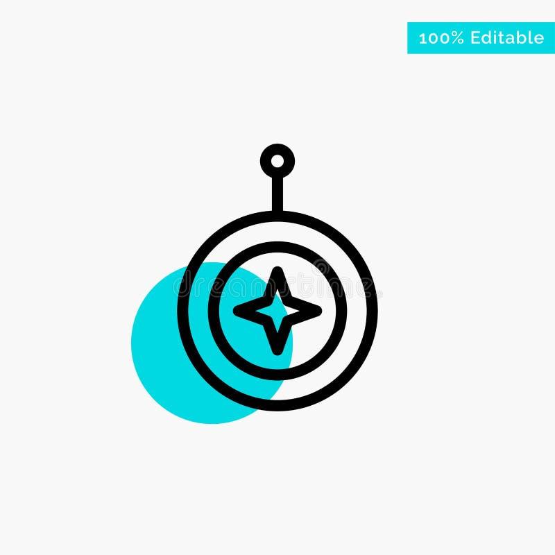 Insignia, estrella, medalla, escudo, icono del vector del punto del círculo del punto culminante de la turquesa del honor ilustración del vector