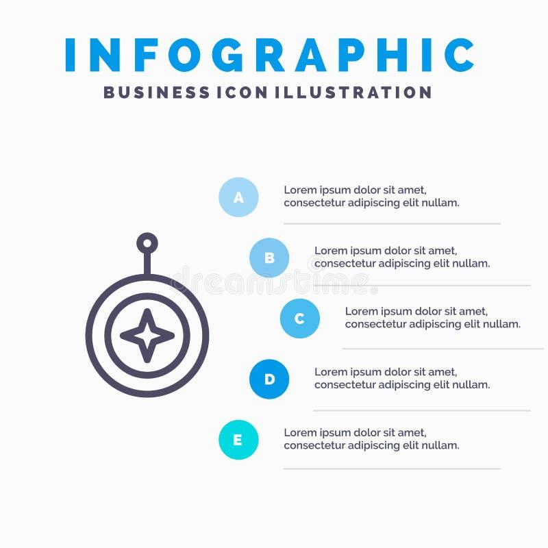 Insignia, estrella, medalla, escudo, línea icono del honor con el fondo del infographics de la presentación de 5 pasos stock de ilustración