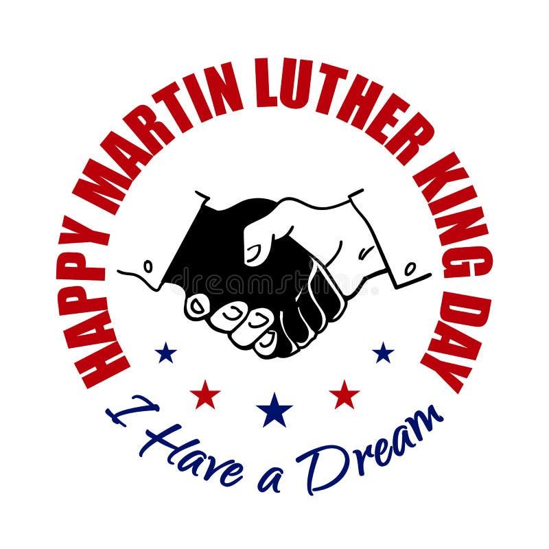 Insignia feliz de Martin Luther King Day Sacudiendo las manos diseñe Ilustración del vector Diseño tipográfico para los flayers,  stock de ilustración