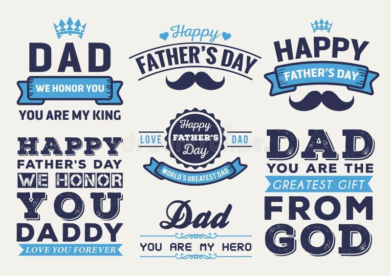 Insignia feliz Logo Vector Element Set del día de padre