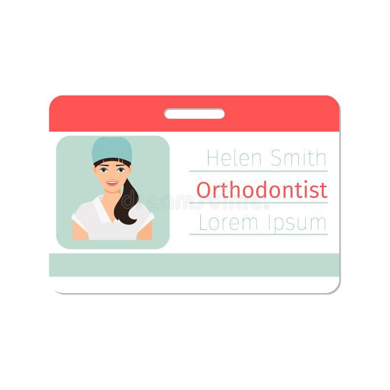 Insignia femenina del especialista médico del orthodontist ilustración del vector