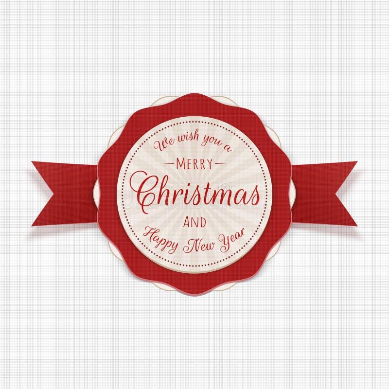 Insignia festiva de la Feliz Navidad del círculo con el texto stock de ilustración