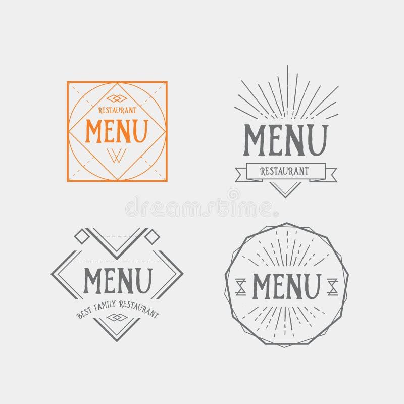 Insignia geométrica del vintage de la plantilla del logotipo del menú Diseño de la comida del vector ilustración del vector