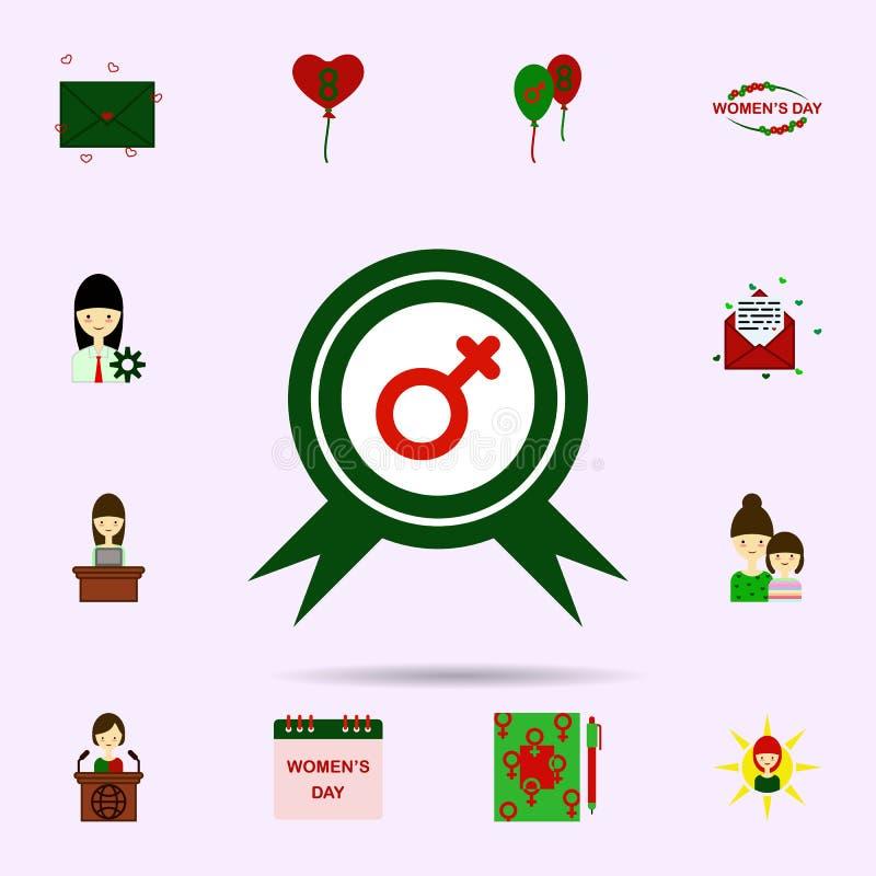 Insignia, icono del color del s?mbolo de la mujer Sistema universal del 8 de marzo para el dise?o y el desarrollo, desarrollo de  libre illustration