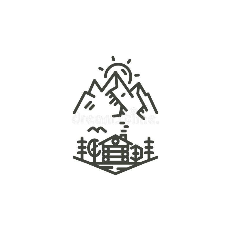 Insignia linear del viaje del vintage Línea que acampa concepto de la etiqueta del arte Diseño del logotipo de la expedición de l stock de ilustración