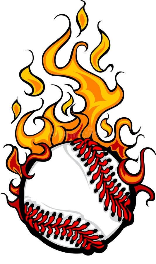 Insignia llameante de la bola del béisbol o del beísbol con pelota blanda stock de ilustración