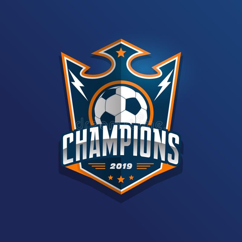 Insignia Logo Design Templates del fútbol del fútbol   Deporte Team Identity Vector Illustrations aislado en el fondo blanco stock de ilustración