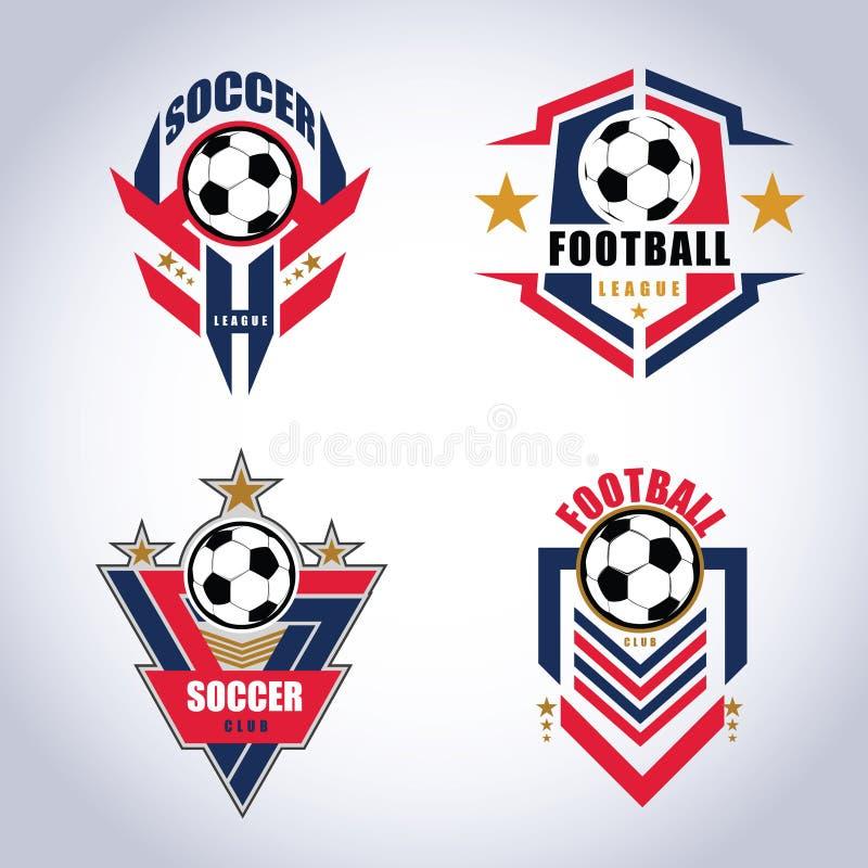 Insignia Logo Design Templates del fútbol del fútbol | Deporte Team Identity Vector Illustrations aislado en fondo azul stock de ilustración