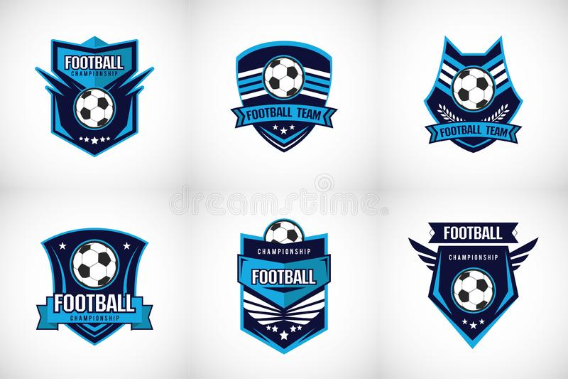 Insignia Logo Design Templates del f?tbol del f?tbol | Deporte Team Identity Vector Illustrations aislado en fondo azul libre illustration